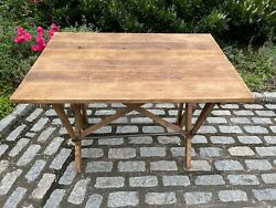 Adjustable Reclaimed Oak And Iron Drafting Table