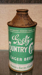 1940 Green Country Club Cone Top Beer Can Goetz Brewing St Joseph Missouri Irtp