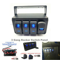 3 Gang Rocker Toggle Switch Panel W/qc 3.0 Usb Charger Voltmeter Car Marine Boat