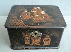 Vtg Antique Black Lacquer And Gold Lidded Box Lock Tin-lined Scenes Music Dancing