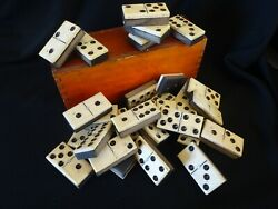 Vintage Bone Dominos Wood French Complete Dominoes Case Antique Games.