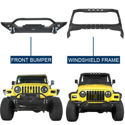 Black Windshield Frame Cover Armour + Front Bumper Fits Jeep Wrangler Tj 97-06