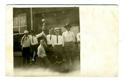 Barber Pole With Men Front Of Barbershop Real Photo Postcard Boy Bicycle 1910and039s