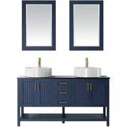 Vinnova Modena 60 Glass Top Double Vanity With Sink And Mirror In Royal Blue