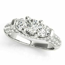 1.36 Ct Real Diamond Engagement Wedding Ring 14k Solid White Gold Size 6.5 5 7 8