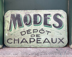 Antique Hat Shop Trade Sign Vintage Wooden French Modes Depot Old Green Paint