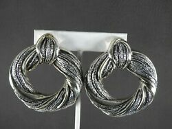 Vintage Electroform Earrings Israel Jewelry Solid 925 Sterling Silver Clip Sign