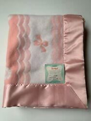 Vintage Beacon Baby Blanket Sanitized Thermal With Satin Trim 364x50 Made In Usa