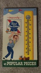 Vintage Pabst Blue Ribbon Thermometer Press Sign Co-st. Louis 774 U.s.a. Minty