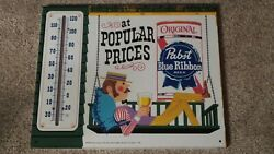 Vintage Pabst Blue Ribbon Thermometer Press Sign Co-st. Louis Mo U.s.a. Minty