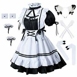 Anime French Maid Apron Lolita Fancy Dress Cosplay Costume Furry Cat Ear Gloves