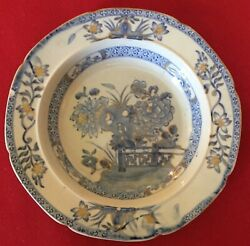 Antique 19th C. Mason's Ironstone China Soup Bowl Chinese Fence Blue And White