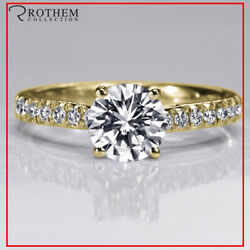 1.31 Ct Round Cut Diamond Engagement Ring D Si2 Pave 14k Yellow Gold 41251185