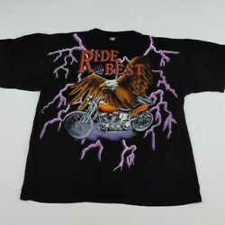 Vintage 90s American Thunder Ride The Best T Shirt Rare Eagle Motorcycle Aop