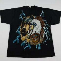 Vintage 90s American Thunder Wolf Indian T Shirt Rare All Over Print Aop Usa