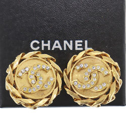 Cc Logos Rhinestone Used Earrings 2 3 Gold Clip-on Vintage Auth Ad187 O