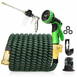 Upgraded Expandable Garden Hose, 50 Ft, 3/4 Solid Brass Connectors, 10 Function