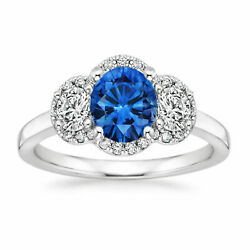 1.35ct Natural Blue Sapphire Diamond Ring 14k Solid White Gold Engagement Ring