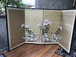 Vintage Japanese Gouache Wall Hanging 4 Panel Silk Folding Screen Hand Painted