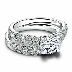 Solid 1.10 Ct Natural Diamond Engagement Ring Set 14k White Gold Band Size 78.5