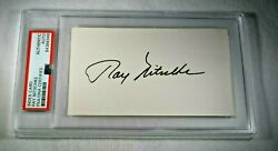 Ray Nitschke Signed 3x5 Index Card-hof-green Bay Packers-psa Encapsulated