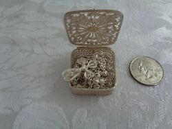 Antique Italy 800 Silver Handcrafted Filigree Boxed Rosary Chain
