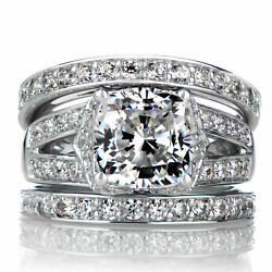 Solid Natural 1.30 Ct Diamond Engagement Ring Sets 14k Gold Band Size 7869.5