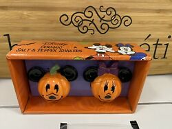 New Disney Mickey And Minnie Mouse Jack Oand039lantern Pumpkin Salt And Pepper Shakers