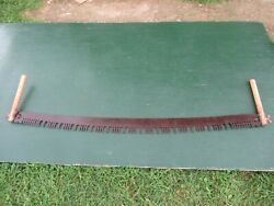 Great Vintage Crosscut Saw Tool + 60 Long Blade With Two Wooden Handle
