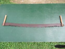 Great Vintage Crosscut Saw Tool + 61 Long Blade With Two Wooden Handle