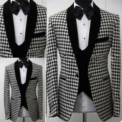 Houndstooth Suits For Men Checkered Jacket Weave Fabric Tailored Casual Clothes
