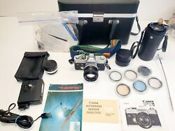 Canon Ftb Ql 35mm Film Camera With Fd 50mm 11.4 Lens And Zoom Fd 100-200 15. Lot