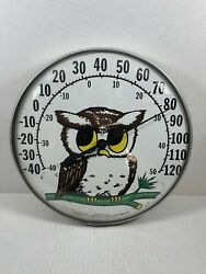 """Vintage 12"""" Ohio Thermometer Company Owl Wall Thermometer Made In Usa Works"""