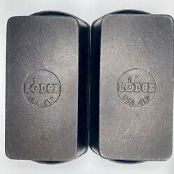 Lot Of 2 Vintage Lodge Cast Iron Loaf Bread Baking Pan Made In The Usa 4lp