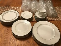 Waterford Lismore Platinum China 6 Piece-8 Person Set W/2 Crystal Bev. Glass