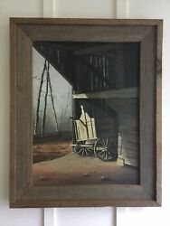 Vintage D Morgan Original Framed Painting Wagon At Cades Cove Tn Early 1970andrsquos