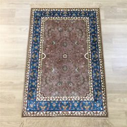 2and039x3and039 Small Handwoven Silk Carpet Home Furniture Tapestry Area Rug Y138a