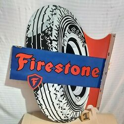 Firestone Gum Dipped Porcelain Enamel Sign 2-sided Flange 37 X 30.5 Inches