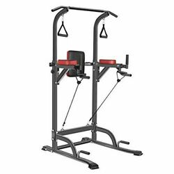 Bronze Times Power Tower Workout Dip Station Pull Up Bar Dip Stands Adjustable H