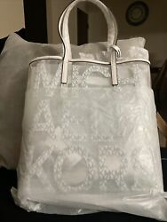 Michael Kors quot;The Michael Bag quot; Tote Bag Clear White Leather New with Tag $98.00