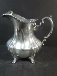 Vtg Poole 990 Lancaster Rose Footed Water Pitcher W/ Ice Lip Sterling Silver Nm