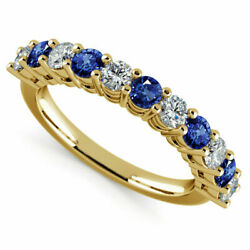 Real Diamond 0.98 Ct Natural Blue Sapphire Gemstone Rings 14kt. Yellow Gold Ring