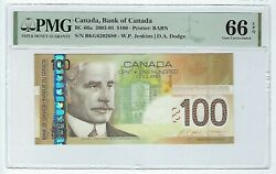 Canada 100 Dollars Banknote 2005 Bc-66a Pmg 66 Epq Changeover Bkg