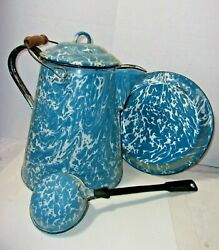 Antique Vtg Enamelware Graniteware Blue And White Swirl Coffee Pot Ladle And Plate