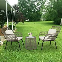 3 Pcs Outdoor Bistro Patio Set Glass Table And Wicker Chairs Seat W/ Cushion
