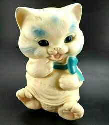 Vinyl Ashland Rubber Sitting Cat Squeaky Toy Vintage Blue Bow