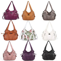 Angelkiss Women Tote Satchel Handbags Soft Washed Leather Shoulder Purses Bag $32.42