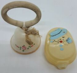 Antique Pair Of Victorian Celluloid Baby Rattles Toy Rattle