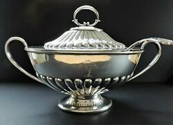Antique Silver Plate Tureen And Ladle Georgian Style Large 43cm Long