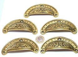 Set Of 5 X Arts And Crafts Style Brass Cup Chest Drawers Pull Handles